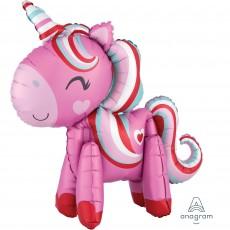 Magical Unicorn Standing CI Love Shaped Balloon 55cm x 53cm