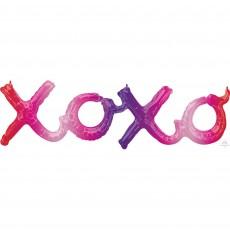 Love CI: Script Phrase xoxo Shaped Balloon 99cm x 27cm