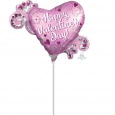 Heart Mini Shape Satin Heart & Swirls Happy Valentine's Day! Shaped Balloon