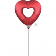 Heart Sangria Red Love Mini Open Heart Shaped Balloon