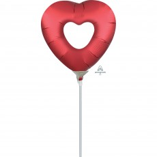 Love Sangria Red Mini Open Heart Shaped Balloon