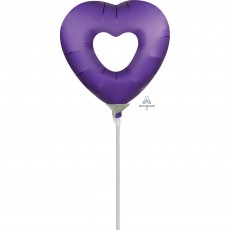 Purple Royale Open Heart Mini Shaped Balloon
