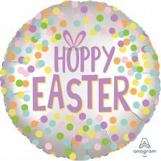 Round Standard XL Satin Hoppy Easter Foil Balloon 45cm