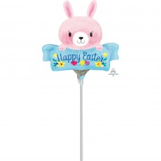 Easter Mini Pink Bunny Shaped Balloon