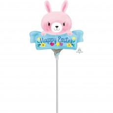 Mini Pink Bunny Happy Easter Shaped Balloon