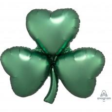Satin Emerald St Patrick's day SuperShape XL Shamrock Shaped Balloon 73cm x 71cm