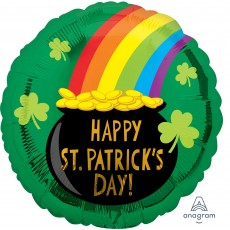 Round Standard HX Pot of Gold Happy St Patrick's Day! Foil Balloon 45cm