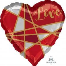 Heart Love Standard HX Lines Shaped Balloon 45cm