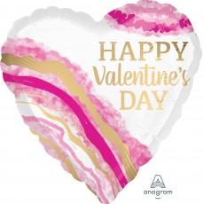 Heart Jumbo Watercolor Geode Happy Valentine's Day Shaped Balloon 71cm