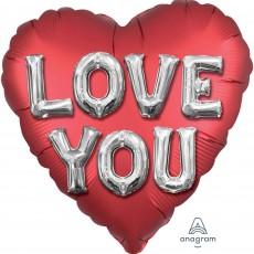 Heart Jumbo Satin Letters Love You Shaped Balloon 71cm