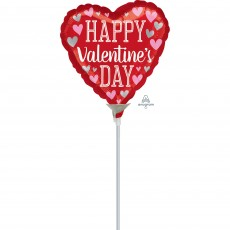 Heart Pink & Silver Hearts Happy Valentine's Day! Shaped Balloon 22cm
