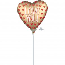 Love Satin Gold  Shaped Balloon