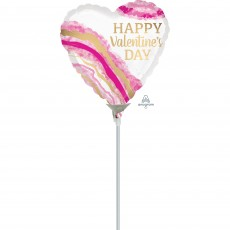 Heart Watercolor Geode Happy Valentine's Day Shaped Balloon 10cm