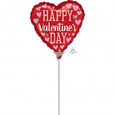 Heart with Pink & Silver Hearts Happy Valentine's Day Shaped Balloon 10cm