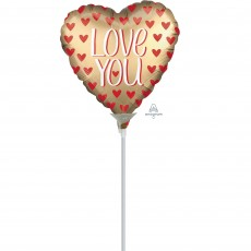 Love with Satin Gold & Red Hearts Shaped Balloon