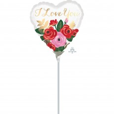 Heart with Rose Bouquet I Love You Shaped Balloon 10cm