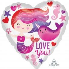 Heart Standard HX Mermaid & Narwhal Love You Shaped Balloon 45cm