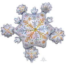 Christmas SuperShape Holographic Shining Snowflakes Cluster Shaped Balloon