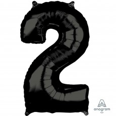Number 2 Black Mid-Size Shaped Balloon