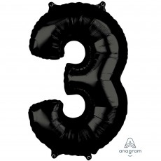 Number 3 Black Mid-Size Shaped Balloon