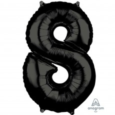 Number 8 Black Mid-Size Shaped Balloon