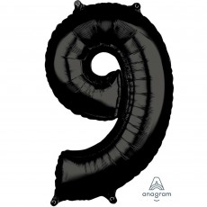 Number 9 Black Mid-Size Shaped Balloon