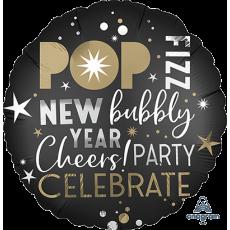 Round New Year Standard XL Celebrate Pop Fizz Foil Balloon 45cm
