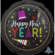 Round Standard Bright Happy New Year! Foil Balloon 45cm