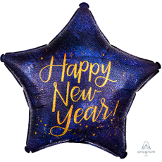 Standard Holographic Midnight Star Happy New Year! Shaped Balloon 45cm