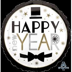 Round Standard HX Dapper Night Happy New Year! Foil Balloon 45cm