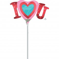 Love Mini Satin Infused I Heart U Shaped Balloon