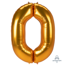 Number 0 Gold SuperShape Jumbo Shaped Balloon