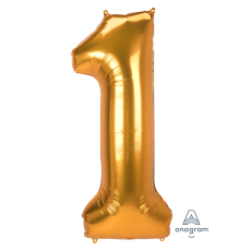 Number 1 Gold SuperShape Jumbo Shaped Balloon