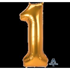 Number 1 Gold SuperShape Jumbo Shaped Balloon