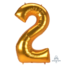 Number 2 Gold SuperShape Jumbo Shaped Balloon