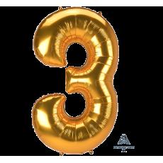 Number 3 Gold SuperShape Jumbo Shaped Balloon