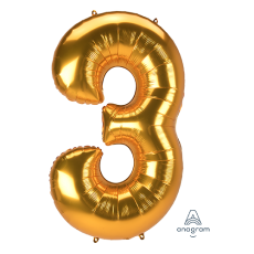 Number 3 Party Decorations - Shaped Balloon SuperShape Jumbo