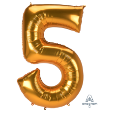 Number 5 Gold SuperShape Jumbo Shaped Balloon