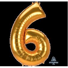 Number 6 Gold SuperShape Jumbo Shaped Balloon