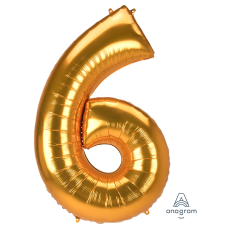 Number 6 Gold SuperShape Shaped Balloon