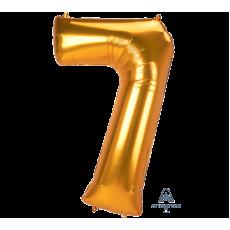 Number 7 Gold SuperShape Jumbo Shaped Balloon