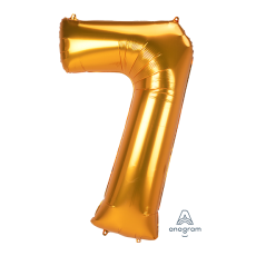 Number 7 Gold SuperShape Shaped Balloon