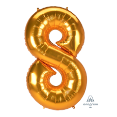 Number 8 Gold SuperShape Jumbo Shaped Balloon