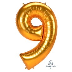 Number 9 Gold SuperShape Jumbo Shaped Balloon