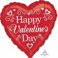 Valentine's Day Standard Fancy Swirls & Silver Hearts Shaped Balloon