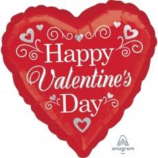 Heart Jumbo Fancy Swirls & Silver Hearts Happy Valentine's Day Shaped Balloon 71cm x 71cm