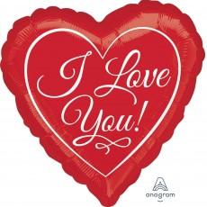 Heart Jumbo Traditional Script I Love You Shaped Balloon 71cm x 71cm