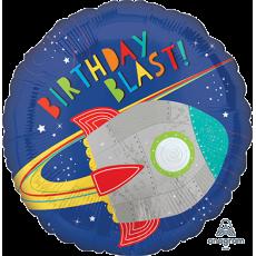 Round Blast Off Rocket Standard HX Birthday Blast! Foil Balloon 45cm