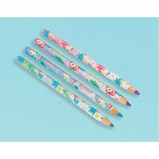 Mermaid Wishes Multi Shape Coloured Pencil Favours Pack of 8