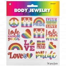 Rainbow Glittered Body Jewelry Costume Accessories